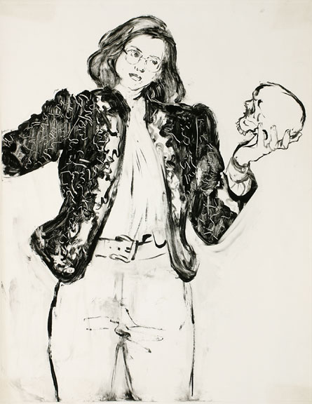 Self-Portrait as Hamlet, 1994, monotype, 30-1/4 x 22-1/4 inches Collection of Max Kitaj