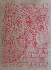 Wax crayon rubbing of reworked lino-cut
