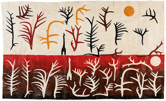 Glyphs - The Creation, 2016, linocut on tapa cloth. 114 x184 cm.